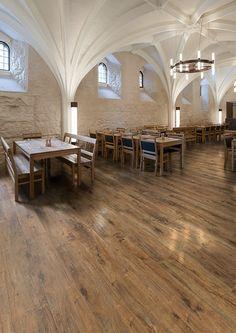 Affinity255 Flamed Chestnut luxury vinyl tile flooring in restaurant
