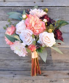 Coral Peony Bride Bouquet Marsala Dahlia by Hollysflowershoppe