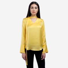 Yellow Satin silk top with side bow - buy online India from Ombré Lane