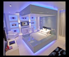 Futuristic Bedroom Furniture Design In Hard Rock Hotel Las Vegas Neon Bedroom, Silver Bedroom, Music Bedroom, Light Bedroom, Hotel Bedroom Design, Bedroom Furniture Design, Bedroom Designs, Bedroom Ideas, Bedroom Decor