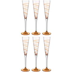 Leonardo Spirale Champagne Glass - Set of 6 - Orange (78 CAD) ❤ liked on Polyvore featuring home, kitchen & dining, drinkware, orange, colored glass champagne flutes, leonardo glassware, colored champagne flutes, orange glassware and coloured champagne glasses