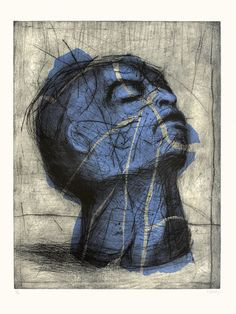 - Blue Head - William Kentridge - 1993- Drypoint, Hand-Painting.