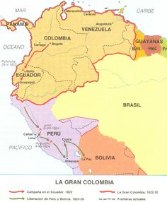 Republic of Gran Colombia Historical Maps, Historical Pictures, South American Art, Alternate History, Spanish Language Learning, City Maps, Latin America, World History, History Of Colombia