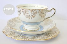 Emma vintage blue white and gold trio tea cup saucer plate on Etsy, $25.26