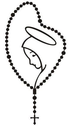 Rosary With Mary Vinyl Decal – Rebel rd auth Santas Tattoo, Tattoo Maria, Rosary Drawing, Jesus Drawings, Holy Rosary, Blessed Mother Mary, Wood Burning Patterns, I Tattoo, Quilling