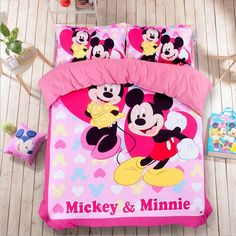 Queen size Mickey mouse bedding sets print cotton bed linen comforter sets Full king size#mickey mouse king size bedding