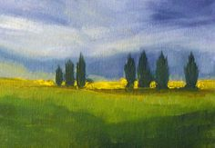 Original Landscape Oil Painting, Storm Sky, Country Scene, 5x7 on Canvas, Field, Trees, Sky, Wall Decor, Green, Blue, Yellow, Small Format