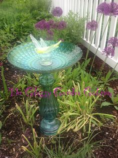 Bird Bath, Glass garden art, yard art, repurposed recycled up cycled glass, unique garden decor, sun catcher,  www.TheGlassyGardenGal.com