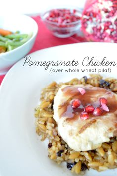 Pomegranate Chicken over whole grain pilaf from @Our Thrifty Ideas #honestlygood #shop #cbias