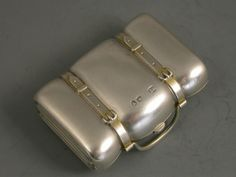 Silver miniature pill box in the form of suitcase by William Summers, London 1896