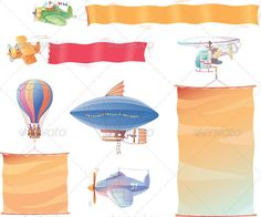 Planes with Banners  #GraphicRiver         Airplanes, the dirigible, the hot air balloon and the helicopter are flying in the air with the banners.  	 Includes: the Illustrator 8.0 editable vector EPS file and the Hi-res JPG .