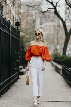 Spring Style, White Denim, Round Bag, Off the Shoulder Top, Cropped Denim