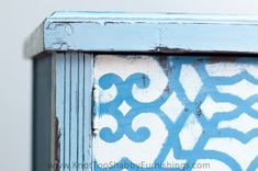 Louis Blue, Greek Blue and Pure White Chalk Paint® with the edges lightly distressed