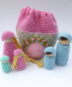 Cozy cottage on the go wood peg dolls felted by greenmountain, $29.50