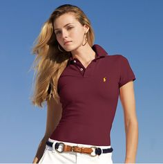 polo ralph lauren outlet Women\u0027s Classic-Fit Short Sleeve Polo Shirt Dark  Red http: