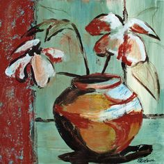 """""""Floral Still Life II"""" 20x20 Abstract Painting by Sharon Sieben at NUMA Gallery"""