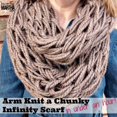 Arm Knitting an Infinity Scarf - an easy way to introduce kids (or yourself) to knitting - Becoming Martha