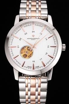 Vacheron Constantin Tourbillon White Dial Rose Gold Numerals Stainless Steel Case Two Tone Bracelet