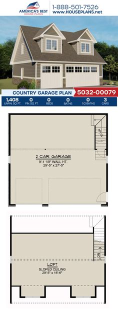 Get a load of this Country garage design, Plan 5032-00079 details 1,408 sq. ft. and a loft. #country #garageplans #garage #architecture #houseplans #housedesign #homedesign #homedesigns #architecturalplans #newconstruction #floorplans #dreamhome #dreamhouseplans #abhouseplans #besthouseplans #newhome #newhouse #homesweethome #buildingahome #buildahome #residentialplans #residentialhome