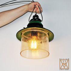 Vintage Industrial Suspension Lamp - Pendant Light - Vintage Workshop Lamp