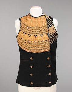 Vest  Date: late 19th century Culture: French (Breton peoples) Medium: silk, wool Dimensions: Length at CB: 26 in. (66 cm) Credit Line: Brooklyn Museum Costume Collection at The Metropolitan Museum of Art, Gift of the Brooklyn Museum, 2009; Gift of Arthur W. Clement, 1941 Accession Number: 2009.300.93