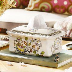 Cracked decal ceramic towel box