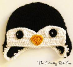 Free Penguin Crochet Hat Pattern - thefriendlyredfox.com Crochet Animal Hats, Crochet Hats For Boys, Crochet Penguin, Crochet Baby Hats, Crochet Beanie, Crochet Hooks, Free Crochet, Crocheted Hats, Pinguin Hut