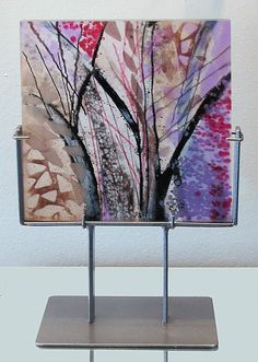 """Aubergine Branches, Kiln Fired Fused Glass, 3/4"""" thick panel by Alice Benvie Gebhart"""