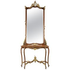 Antique Century Continental Rococo Style Parcel Gilt Walnut Pier Mirror and Console Table Front Drum Table, Console Table, Console Mirror, Pembroke Table, Window Benches, Jar Lanterns, French Furniture, Cheap Furniture, Rococo Style