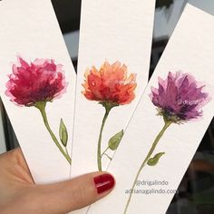 Watercolor Pencil Art, Watercolor Flowers Tutorial, Watercolor Bookmarks, Easy Watercolor, Watercolor Artwork, Watercolor Cards, Creative Bookmarks, Diy Bookmarks, Protea Art
