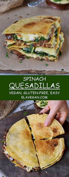 spinach quesadillas are filled with eggplant (aubergine) and vegan cheese . - Fitness-Food & Recipes (gesund & vegan) -These spinach quesadillas are filled with eggplant (aubergine) and vegan cheese . Best Vegan Recipes, Vegetarian Recipes, Healthy Recipes, Vegan Cheese Recipes, Cheese Snacks, Healthy Filling Snacks, Spinach Recipes, Free Recipes, Mexican Food Recipes