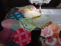 How to machine-sew hexagons..