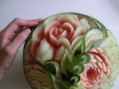 フルーツカービングfood garnish#fruit carving work# watermelon