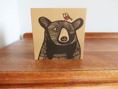Christmas Bear with a Robin, Original Hand Printed Card, Linocut Card, Blank Greeting Card, Brown Kraft Card, Free Postage in UK,