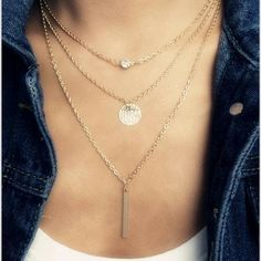 Gold Layered Bar, Disc, and Crystal Necklace