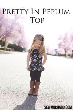 I made this girl's peplum top using my Pretty In Peplum Top Pattern using Riley Blake Designs knit fabric.