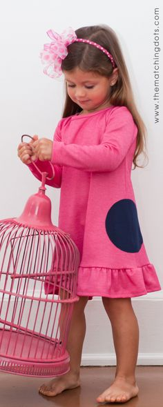 click on photo to shop this dress. The Matching Dots. Dotted kid's fashion. Gift ideas for little girls. Made in USA. Be spotted! $62