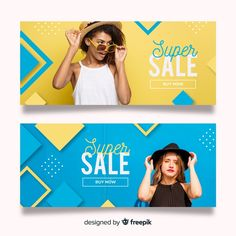 Fashion sale banners with photo Vector Sale Banner, Web Banner, Banners, Event Banner, Social Media Template, Social Media Design, Banner Vector, Banner Template, Banner Design Inspiration