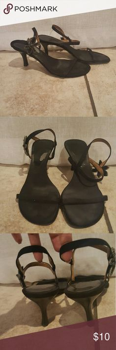 Black strappy heels Very cute, single toe strap. Simply but nice. Some signs of wear as shown in the pictures. Size 7M Shoes Heels