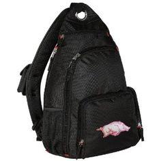 #designer handbags Pink University of Arkansas Sling Backpack Pink Arkansas Razorbacks One Strap Backpacks for Travel or School Bags - BEST QUALITY Unique Gifts For Boys, Girls, Adults, College Students, Men or Ladies (Apparel)