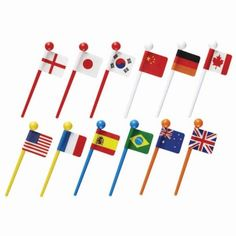 National flags food picks flags for Bento Box Lunch Box by Kawaii Around The World Theme, Flags Of The World, World Country Flags, Bento Box Lunch, Bento Food, Korean Flag, French Crafts, Global Decor, Shops