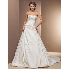 Ball Gown Strapless Cathedral Train Taffeta Wedding Dress – USD $ 296.99