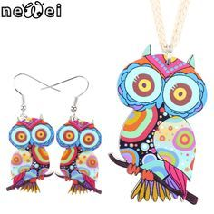 Jewelry Sets Owl Pendant Drop Earrings Jewelry Charm Collar Accessories