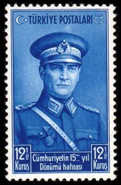 Türk Pulları- Cumhuriyetin Kuruluşunun 15.ci Yıldönümü (1938)