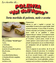 Torta morbida di polenta, mele e uvetta.