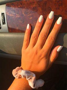 white nails + Hair Beauty ~ summer nails & acrylic nails & autumn nails & nails shape & nails winter & christmas nails & gel nails & natural nails & coffin nails & glitter n Acrylic Nails Coffin Short, Coffin Nails Ombre, Simple Acrylic Nails, Almond Acrylic Nails, Best Acrylic Nails, Acrylic Nail Designs, Simple Nails, Acrylic Art, White Coffin Nails