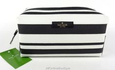 Kate Spade Arbour Hill Cosmetic Bag Case Bonbon Stripe Medium Davie Vinyl  cbb4b2849504a