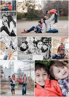Steve and Sara: Top big photo, back to back parents holding kids. bottom left photo, walking, swinging one kid, holding other