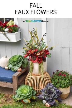 I used a mixture of faux and live flowers to create these festive fall window boxes and flower arrangements. #fallflowers #falldecor #fallplanter #fallflowerarrangement Fall Window Boxes, Fall Flower Arrangements, Fall Planters, Diy Fall Wreath, Types Of Craft, Flower Decorations, Table Decorations, Fall Flowers, Fall Decor