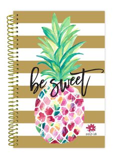 2017-18 Daily Planner, Pineapple PRE-ORDER || pineapple and gold stripe academic planner for those students who want that tropical feeling year round!